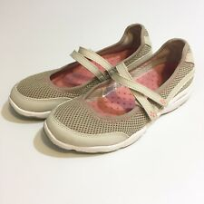 LL BEAN Women's May Jane Hook And Loop Cream White Pink 7 M Shoes Hole Pattern