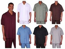 Men's summer 2-pc walking suit (short sleeve shirt and pants), Solid color #2954