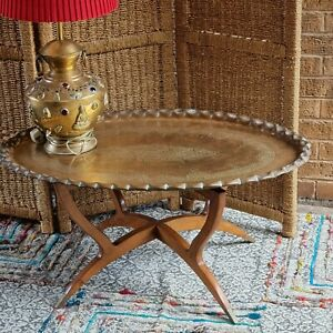 Vintage Indian Brass Tray Top Campaign Table Folding Spider Base
