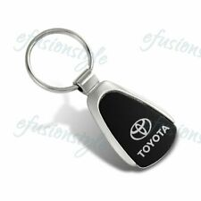 For Toyota Logo Black Tear Drop Authentic Chrome Key Fob Keyring Keychain Tag