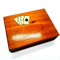 Vintage Wooden Hinged Box Playing Card Holder with Four Aces Graphic on Top