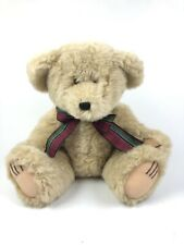 "Wishpets Theodore Plush Teddy Bear Brown Stuffed Animal 1998 Plaid Bow -12"""
