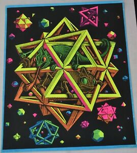 Vintage M.C. Escher STARS Blacklight Poster Mint to Near Mint Condition
