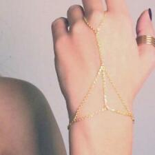 Hot Gold Bracelet Bangle Slave Chain Link Interweave Finger Ring Hand Harness cy