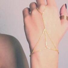 Hot Gold Bracelet Bangle Slave Chain Link Interweave Finger Ring Hand Harness HI