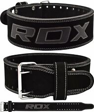 RDX 4 Leather Weight Lifting Belt Back Gym Strap Training Support Fitness