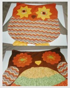 Mr and Mrs Owl Pillow Slip Covers Woodsy Large Button Eyes Polyester Felt