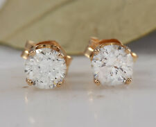 0.60Ct Natural Diamond 14k Solid Yellow Gold Stud Earrings