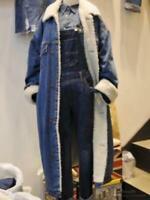 Women's Winter Jeans Fleece Jackets Lamb Wool Long Denim Ladies Coat Oversize