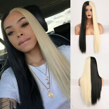 Half Black Half Blonde Cosplay Wigs Middle Part Silky Straight Synthetic Wig