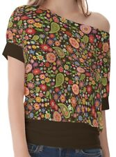 Paisley Women One Shoulder Micro-elastic Hem Top Blouse b15 acr00588