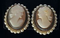 Carved shell cameo & seed pearl vintage Art Deco antique pair of clip earrings