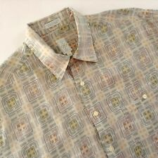 Burma Bibas Shirt Geometric Abstract Rectangles Green Beige Button Front XL