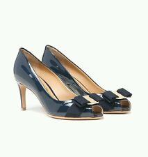NIB NEW Salvatore Ferragamo Pola women's navy  patent leather heel Vara bow 9 C