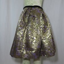 886775da90 Marni Gold Purple Metallic Brocade Pleated Skirt 8 Floral