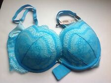 NWT Victoria's Secret Close Up Push Up Bra Panty Set Turquoise Blue 32DD,XS