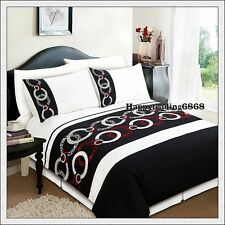280TC Black White Burgundy Embroidery Pintuck 3pc DOUBLE QUILT DOONA COVER SET