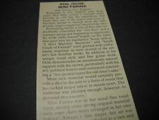 Phil Ochs Mimi Farina at Ash Grove in L.A. original 1973 music biz promo review