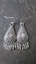 Silver Filigree Boho style chandelier earrings with Sterling Silver earwires