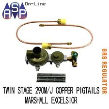 MARSHALL LPG 2 STAGE REGULATOR 290MJ + MANUAL CHANGEOVER TAP +2 COPPER PIG TAILS