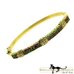Estate Emerald, Ruby, Diamond Yellow Gold Bangle Bracelet