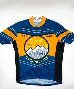Pearl Izumi Cycling Summit Race Top Shirt Orange Blue Half Zip M Back Pockets