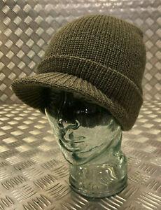 Genuine US Army Black or Olive Peak Radar Hat / Peaked Watch Cap 100% Wool NEW