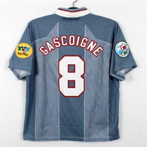 Gascoigne #8 1996 England Away Retro Shirt
