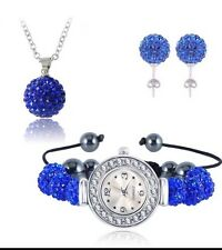 BEST QUALITY BLUE SHAMBALLA WATCH BRACELET, EARRINGS AND NECKLACE