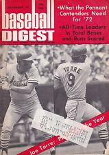 December 1971 Baseball Digest St. Louis Cardinals Joe Torre on Cover