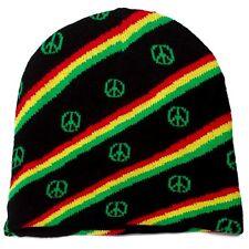 Punk Winter Ski Snowboarding Hat Cap ~ Rasta Reggae Peace Sign Beanie ( Qty 2 )