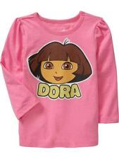 NWT 18-24 MON. DORA THE EXPLORER T SHIRT LONG SLEEVED TOP PINK YELLOW GIRLS GIFT