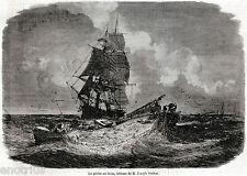 LA PESCA DEL TONNO: Pescatori Tirano le Reti. Pêche au thon. Stampa Antica. 1861