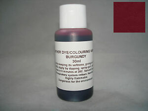 Leather dye colourant in BURGUNDY - 30ml for sofas shoes bags car seats etc