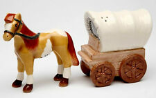 Horse and Wagon Ceramic Salt & Pepper Shakers Western
