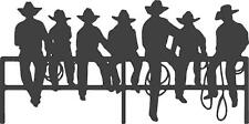 """Silhouette of Cowboys Sitting on a Fence Vinyl Wall Decal [Western 1] 30 """"x 14"""""""