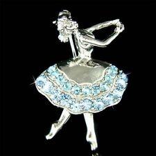 Blue Fairy BALLERINA Angel w Swarovski Crystal BALLET DANCER Pin Brooch Xmas New