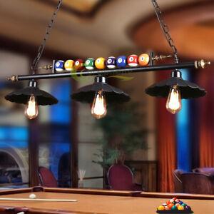 "39"" Hanging Pool Table Lights Fixture Billiard Pendant Lamp w/ 3 Metal Shades"