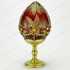 """4"""" GLASS EASTER EGG THE BIRD ENGRAVED S-PETERSBURG RUSSIA TRADITIONS OF FABERGE"""