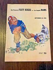 Vintage 1955 NFL program San Francisco Forty Niners 49ers v Los Angeles LA Rams