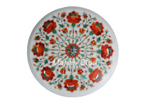 "18"" Marble Coffee/Side Table Top Carnelian Stones Handmade Inlay Work Home Decor"