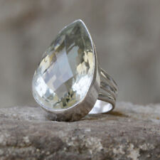 Pear Faceted Green Amethyst Gemstone 925 Sterling Silver Artisan Ring Jewelry