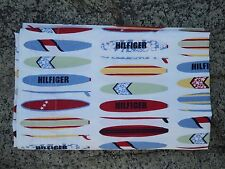 TOMMY HILFIGER Surfboard Flat Sheet Twin Size Cotton Red White Blue Green Yellow