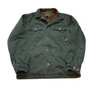 Vintage Woolrich Barn Chore Coat Jacket Loden Green Blanket Fleece Lined Sz M