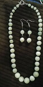 Swirl Carved design Natural Soochow Jade necklace & Jade/agate  earrings set