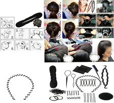 Beauty Roller Braid Twist Elastics Pins Hair Design Styling Tools Kit Black Hot