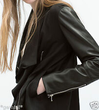 ZARA SIZE M / 38 40 DRAPED JACKET FAUX LEATHER SLEEVES PARKA JACKE m. LEDERÄRMEL