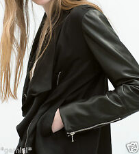 ZARA SIZE L / 40 42 DRAPED JACKET FAUX LEATHER SLEEVES PARKA JACKE m. LEDERÄRMEL