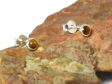 TIGER'S  EYE   Sterling   Silver   Gemstone  Earrings / STUDS  -  4 mm