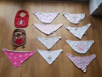 11 x BABY GIRL BIBS BUNDLE White Pink Red - VGC